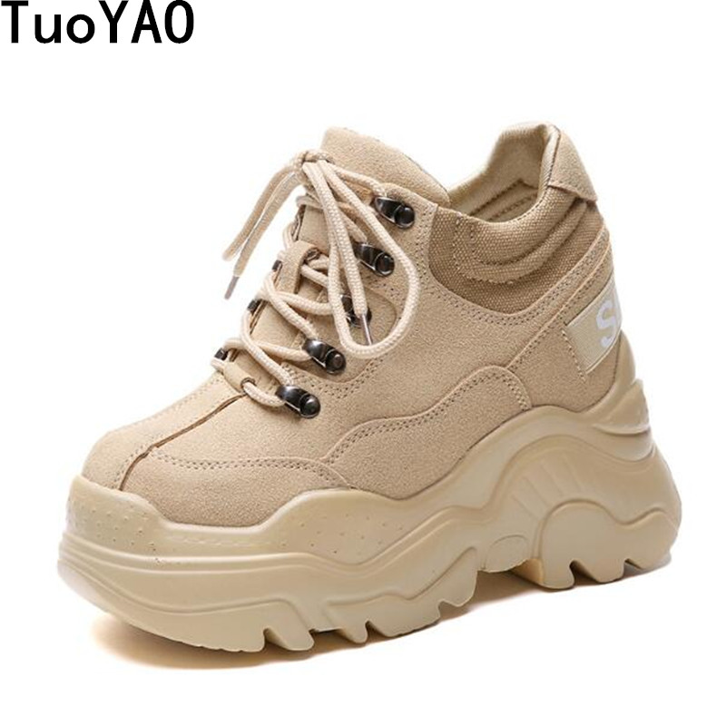 Women High Platform Shoes New Breathable Women Height Increasing Shoes 12 CM Thick Sole Trainers Sneakers Woman Deportivas Mujer