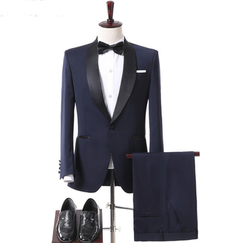 2018 Navy Blue Wedding Groomsmen Tuxedos Groom Wear Black Shawl Lapel Two Piece One Button Business Men Suits (Jacket + Pants)