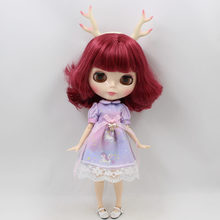Factory Neo Blythe Doll Amaranth Red Hair Jointed Body 30cm