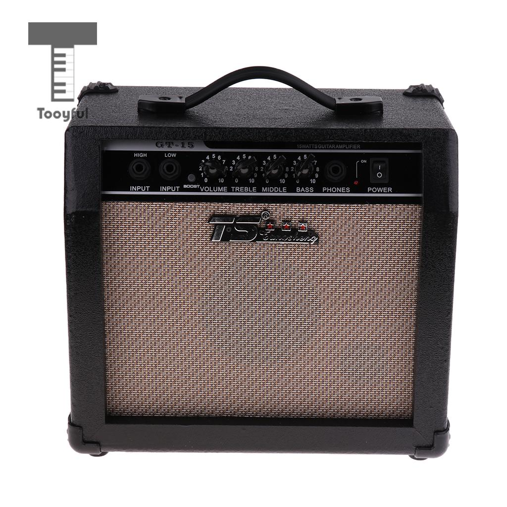Tooyful 15 Watt Electric Guitar Amp Amplifier with 5\'\' Speaker 3-Band EQ for Karaoke Band Performance
