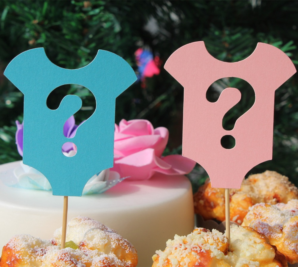 Gender reveal party cupcake toppers baby blue pink top