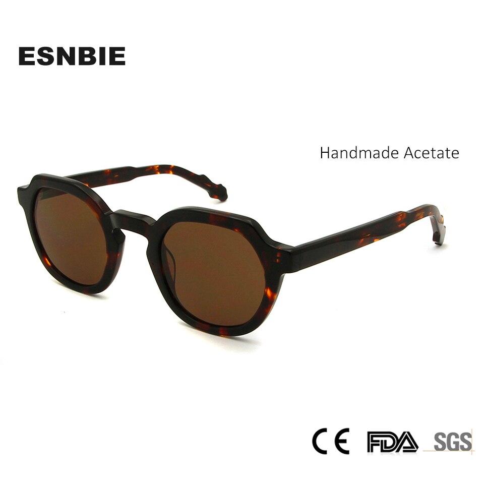 ESNBIE Brand Designer Acetate Vintage Sunglasses Men Round Glasses Women Trending Lentes De Sol Mujer Clear Shades Mens UV400