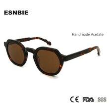 Esnbie marca designer acetato do vintage óculos de sol homens redondos óculos de sol feminino tendências de sol mujer tons claros uv400