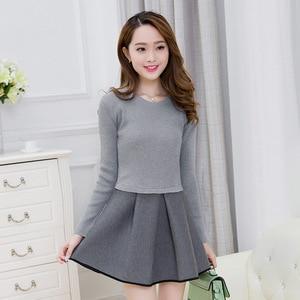 Image 4 - Primavera e invierno 2019 nueva versión Coreana de Mujeres de cultivar vestido de dos piezas de manga larga traje de moda A line vestido