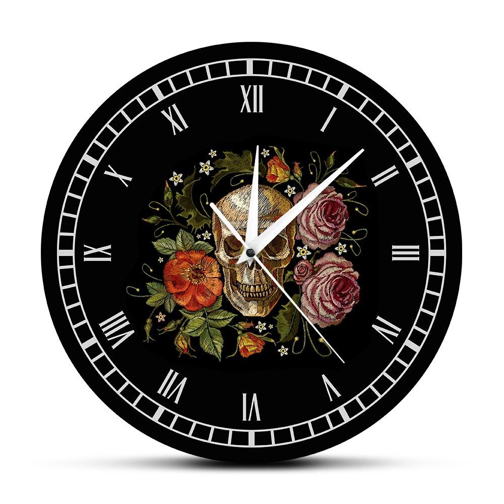 Tattooed Skull Roses Wall Clock Death Evil Kill Killer Tattoo Human Bodypart Skeleton Bone Vintage Decorative Clock Wall Watch