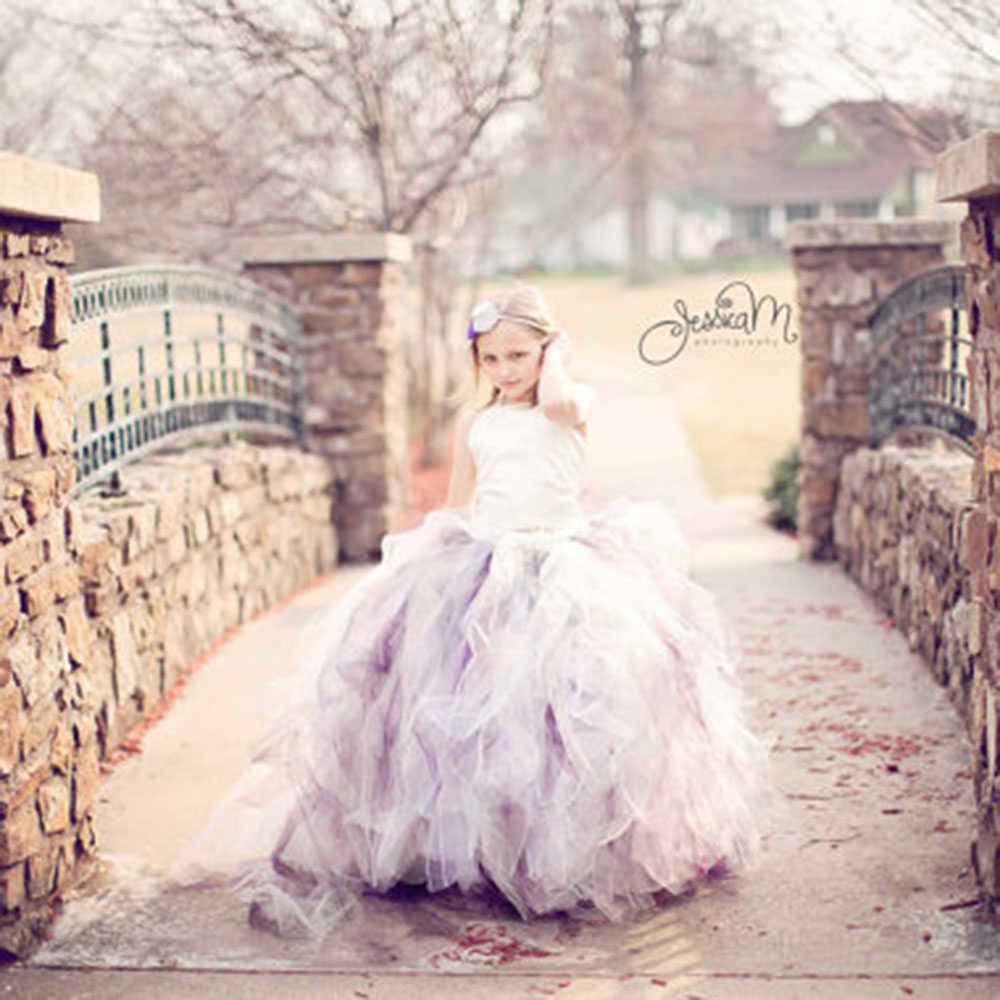 Gorgeous Flower Girl Dresses With Train White Satin Top 3 Layer Tutu