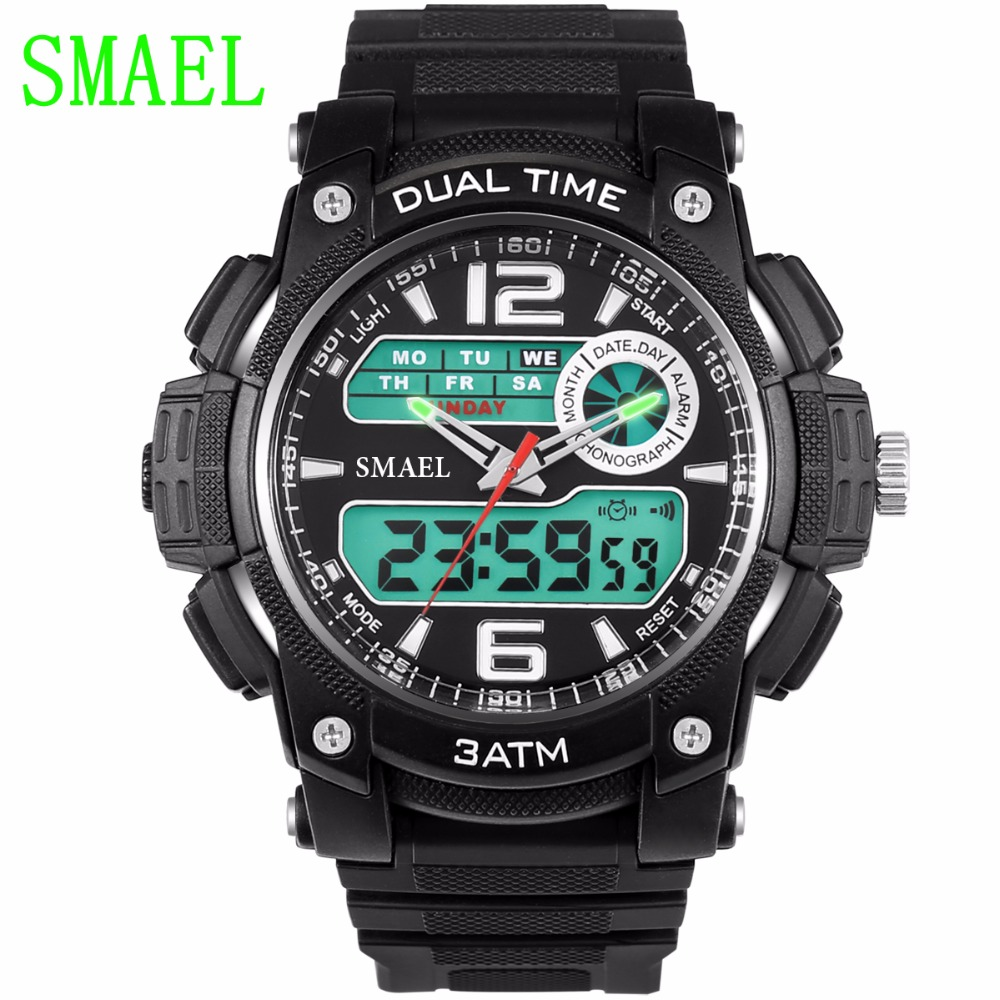 Fashion Dual Movement Sports Watches Men Electronic Digital Analog Shockproof Silicone S Watch Waterproof Wristwatches for Mens nary brand lovers fashion wrist wristwatches men s leather strap watches ladies designer luxury casual watch for women
