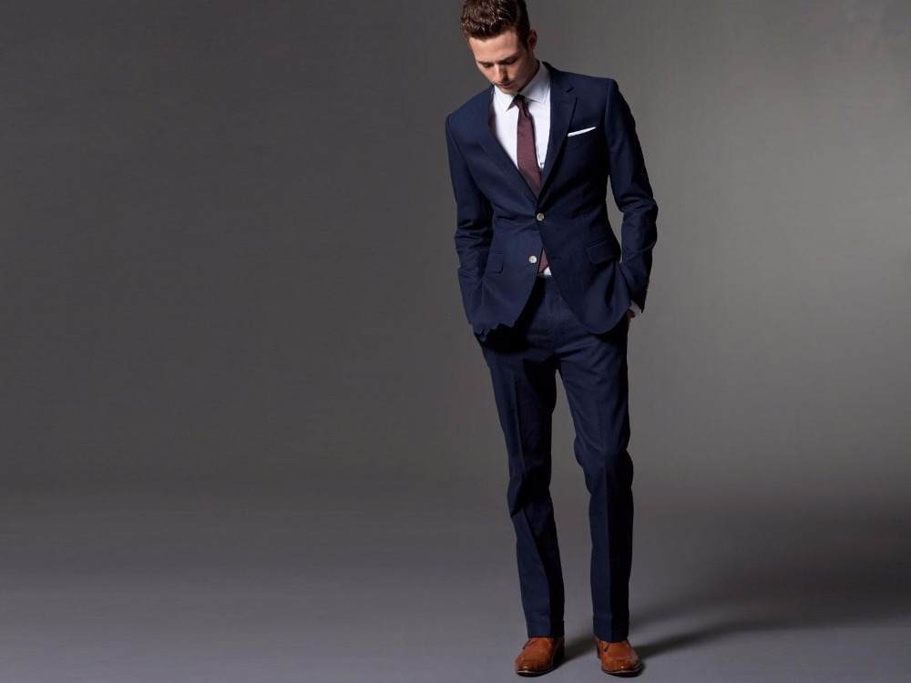 Dark Blue Men Wedding Suits Bespoke Light Navy Blue Groom Suit,Men Slim Fit Suit Wedding Tuxedos For Men(Jacket+Pants)