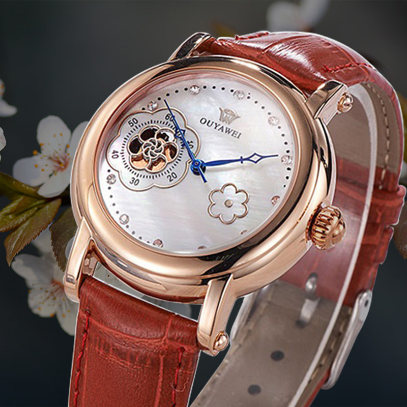 OUYAWEI Rose Gold Armbanduhr Damen Fashion Women Wrist Watch Mechanical Automatic Leather Strap Ladies Wristwatch Montre Femme
