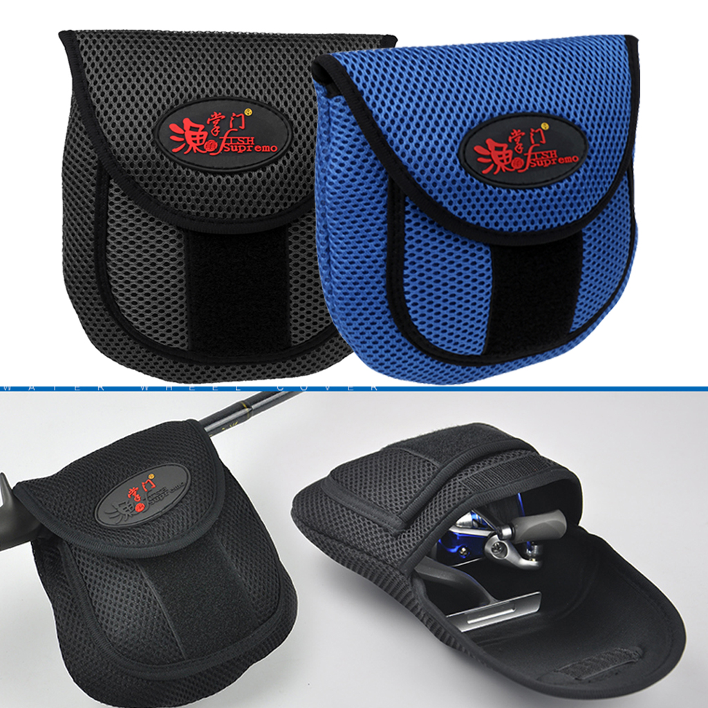 Mesh Cloth Fly Fishing Reel Storage Bag Protective Cover Case Pouch Reel Holder Protector Black/Blue 19.5 x 18 x 2cm-in Fishing Bags from Sports & Entertainment