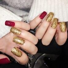 Shiny Red Fake Nails