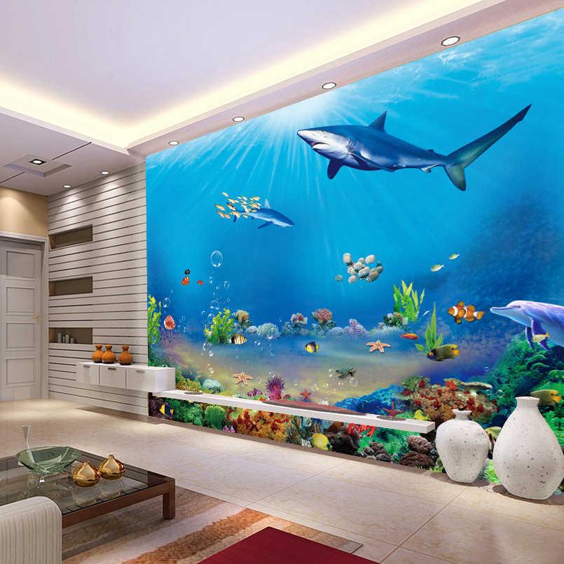 3D جداريات مخصص 3D-Room-Wallpaper 3D نابض بالحياة الحيوان المحيط القرش صور خلفيات للجدران 3D غير قبعة منسوجة الجدار ورقات