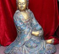 26 Chinese Purple Bronze 24k Gold Cloisonne Kwan yin Buddha goddess Statue