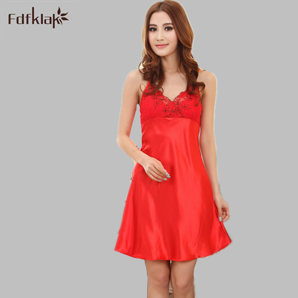 Silk Dressing Gowns Ladies: Fdfklak Summer Sexy Silk Nightgown Ruffles Dressing Gowns