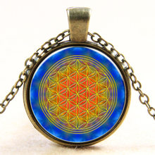 HOT multicolor OM pendant necklace flower of life jewelry mandala statement necklace long necklaces Yoga jewelry Zen jewellery(China)
