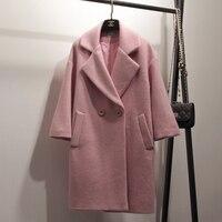 Video Autumn parka double breasted woolen female Winter Coat Women OL Long High quality Wool Coat Loose Warm Woolen Coat Women