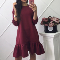 Fall Dresses New Arrival 2017 Womens Three Quarter Sleeve Casual Dress Autumn Ruffle Loose Mini Dresses
