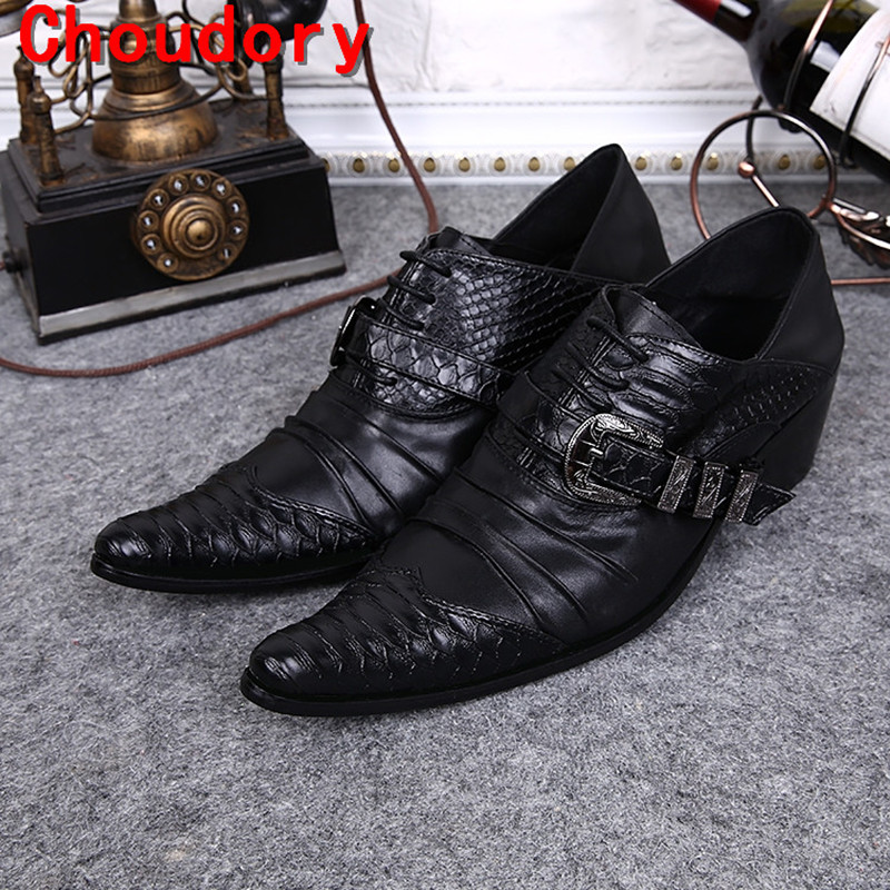 Shoes Sapato Social Mens Iron Steel Pointed Toe Dress Shoes Black Crocodile Skin Men Leather Shoes Formal Wedding Shoes Spiked Loafers Men's Shoes