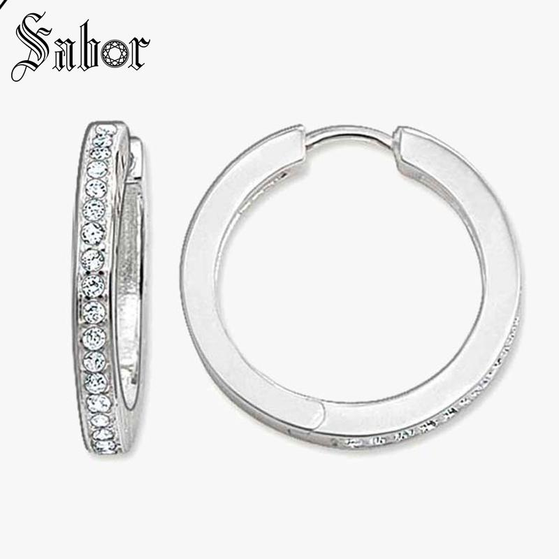 Creole Silver Hinged Hoop Earrings Cubic Zirconia Jewelry White Round 925 Sterling Silver Gift For Women Men 2019 New thomas