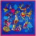 90 cm * 90 cm Saco Elemento de Moda H Marca Impressa estilo Europeu das mulheres de seda de cetim grande lenço quadrado