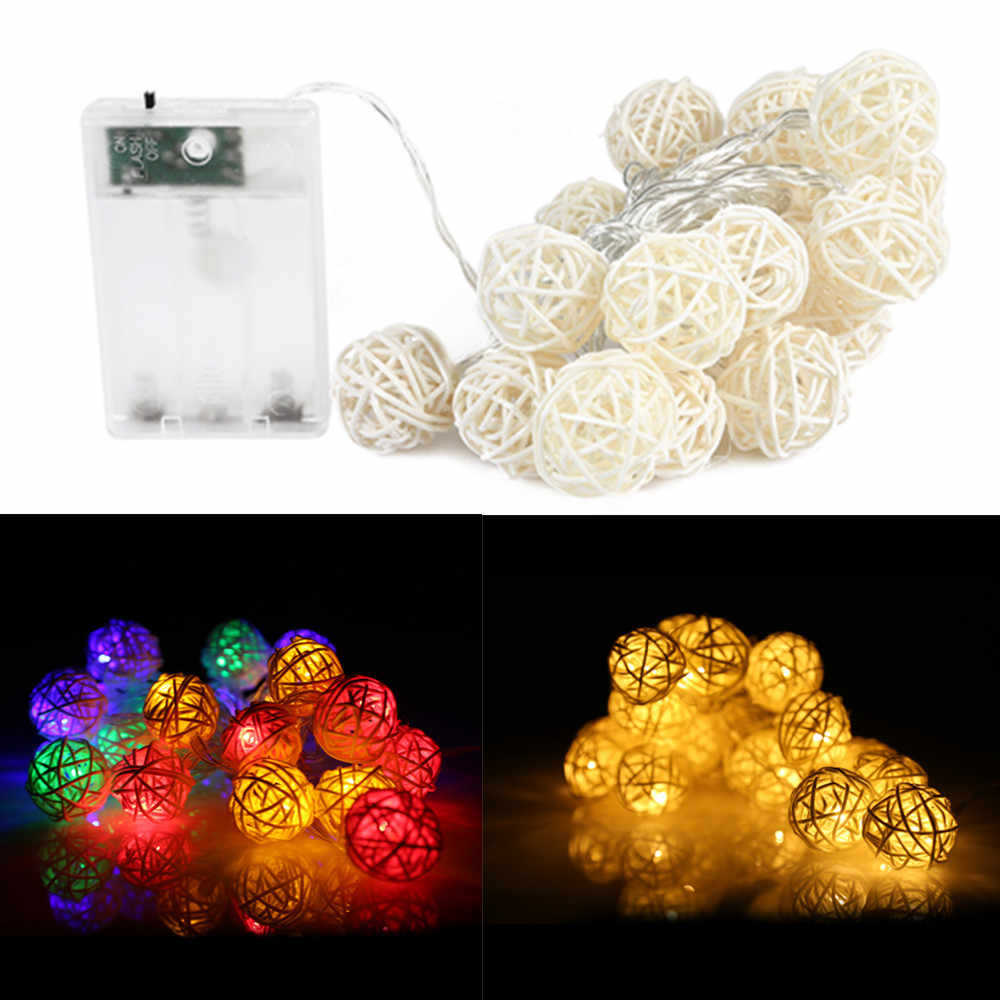 20 LEDs Sepak Takraw Light Strings 2M Decoration Battery Operated Rattan Ball Lighting Chains For Christmas Party Halloween