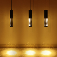 Aluminum Creative LED Pendant Light hollow out bar hanging lamp coffee shop Simple Cylinder Pipe Pendant Lights Kitchen Light