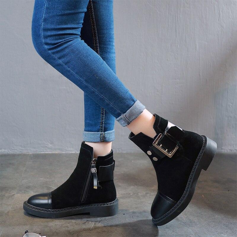 Gruesas Martin Otoño Cuero Botas Cinturón Mujeres Esmerilado 2018 Salvaje  De Negro Invierno Nuevo Zapatos Con Hebilla ... 1d4697e7e001