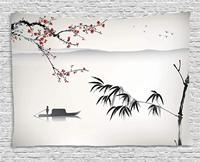 House Decor Collection Chinese Waterscape Painting Artwork Print with Bamboo Sakura Trees Birds Boat Room Hanging Tapestry