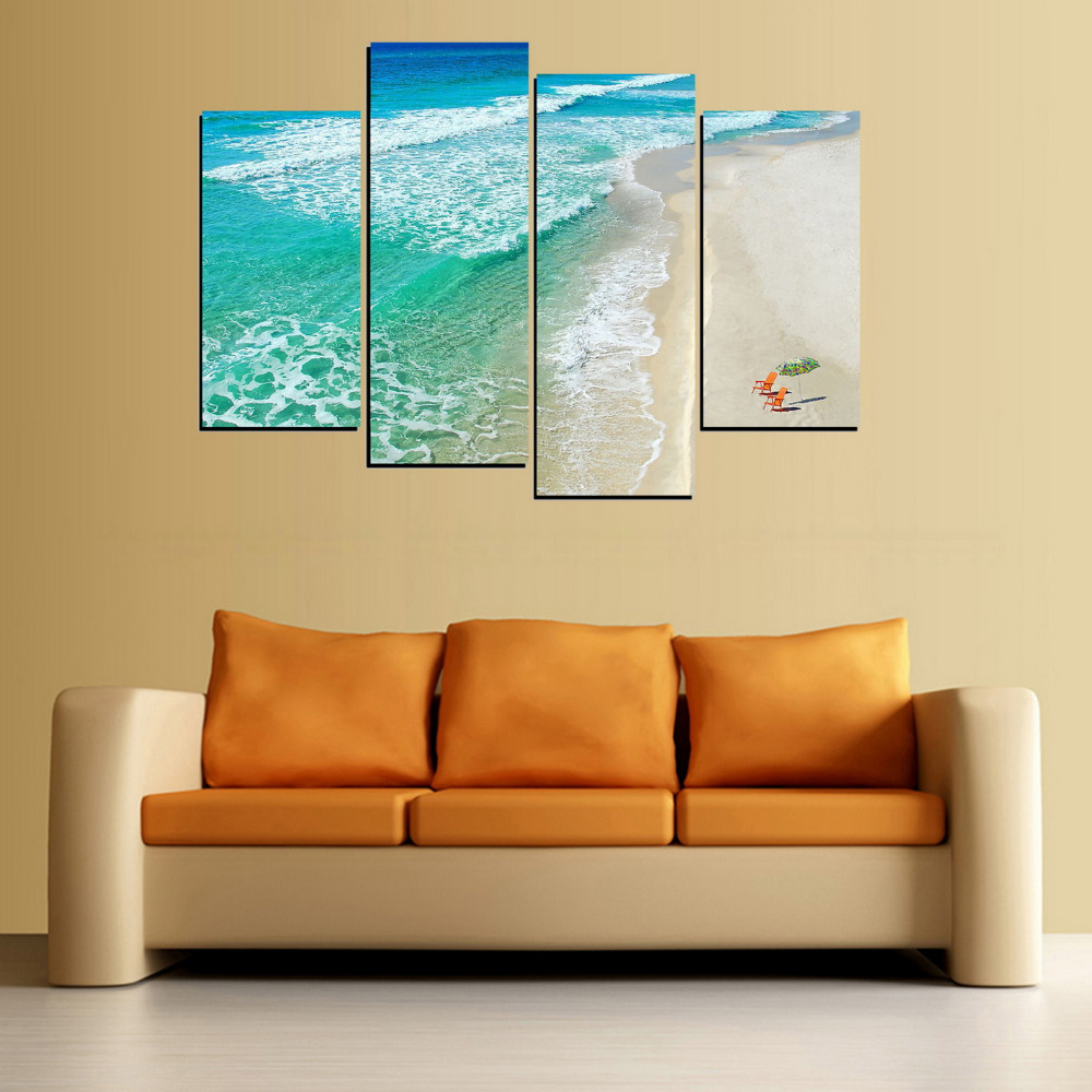 4 Panels Print Canvas Chair and Beach Painting for Living Room Wall ...