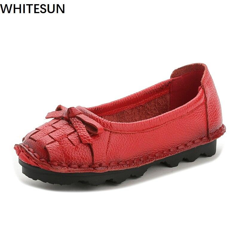 WHITESUN genuine leather women shoes Handmade national style flats women's handmade shoes soft bottom flat shoes woman women shoes handmade genuine leather