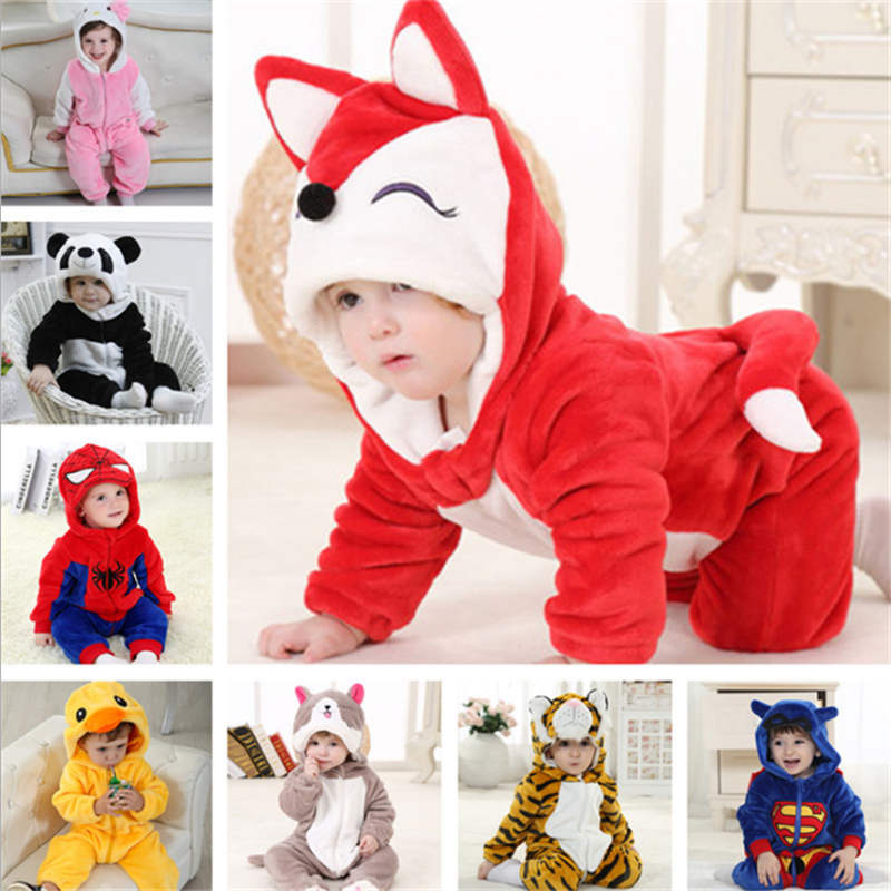 Baby   rompers   Cartoon hello kitty girls pajamas clothes new born baby warm winter animal Pajamas roupas de bebe recem nascido