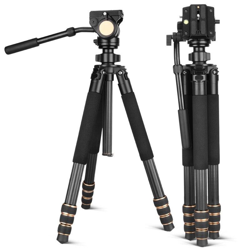 Q640C Professionnel DSLR appareil photo numérique trépied en fiber de carbone photographie trépied 20 kg Charge avec Amortissement panhead 32mm diamètre