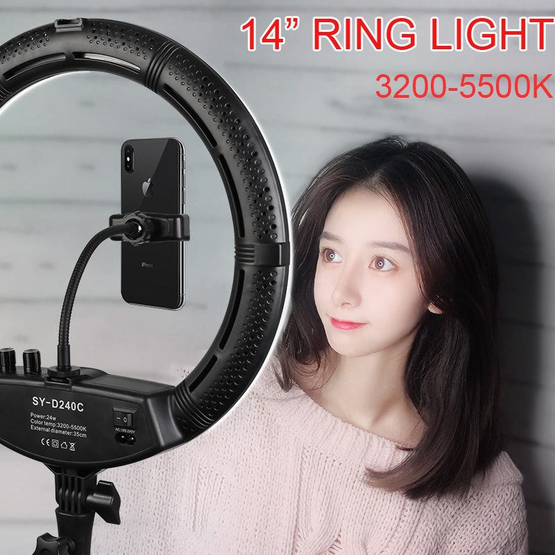 Photo Studio 14 Ring Light 24W 3200-5500K Stepless adjusted Warm& Cold Lighting Lamp Photographic Light with 2 Phone Holder Photo Studio 14 Ring Light 24W 3200-5500K Stepless adjusted Warm& Cold Lighting Lamp Photographic Light with 2 Phone Holder