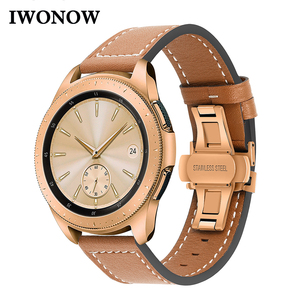 Image 1 - Genuine Leather Watchband for Samsung Galaxy Watch 42mm 46mm/ Active/ Active2 40mm 44mm Quick Release Band Butterfly Clasp Strap