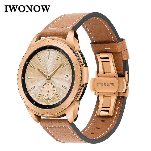 Genuine Leather Watchband for Samsung Galaxy Watch 42mm 46mm/ Active/ Active2 40mm 44mm Quick Release Band Butterfly Clasp Strap