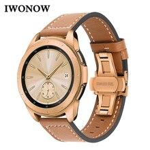 Ремешок для часов из натуральной кожи для Samsung Galaxy Watch 42 мм 46 мм/Active/ Active2 40 мм 44 мм, быстросъемный ремешок с застежкой бабочкой