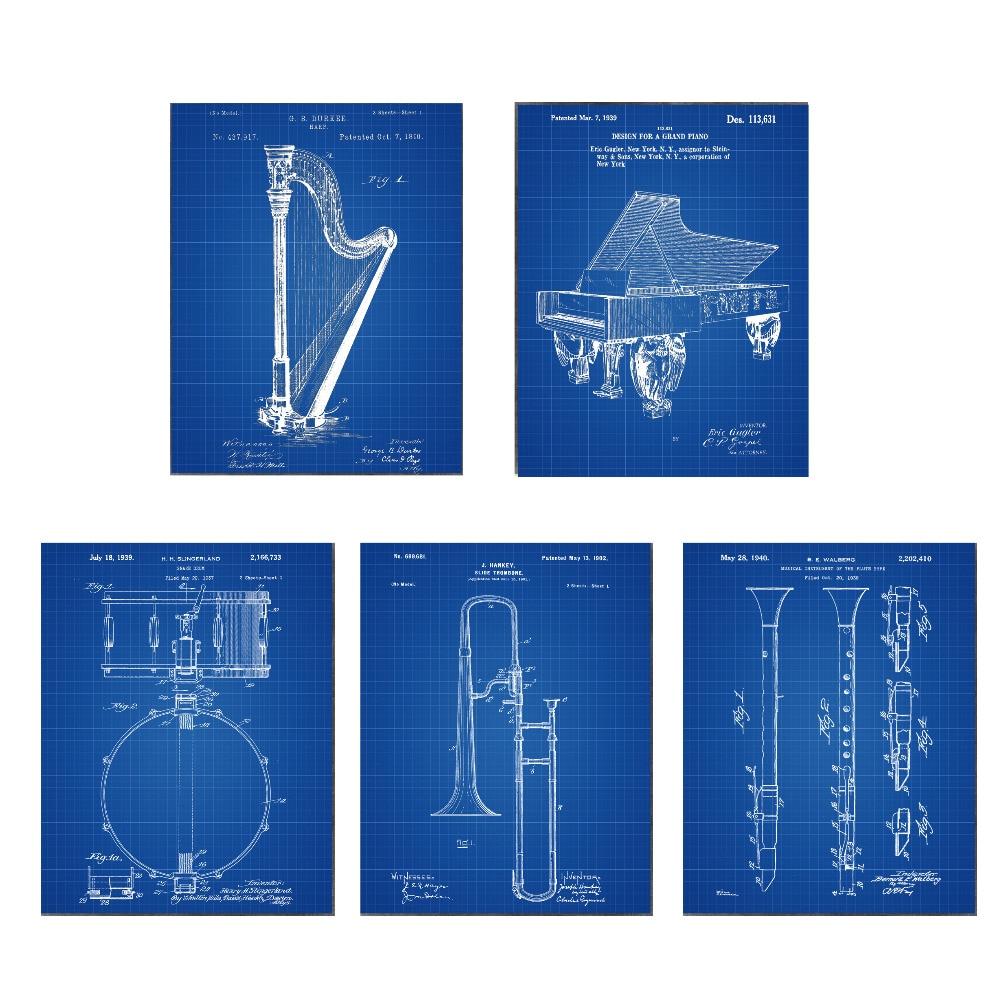 Paten antik, Instrumen seni, G1 poster set 5 in 1 pembibitan pesawat - Dekorasi rumah - Foto 4