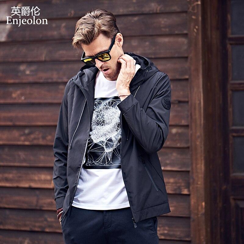 Enjeolon бренд осень куртка-бомбер ветровка Куртки черный цвет, для мужчин повседневная Тактический толстовки пальто мужской с капюшоном и вор...