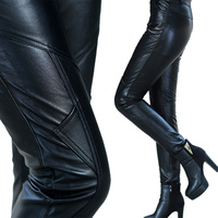 Женская мода Натуральная кожаные штаны Тонкий Овчина натуральная кожа узкие брюки карандаш эластичные, блестящие брюки женские брюки Для ж