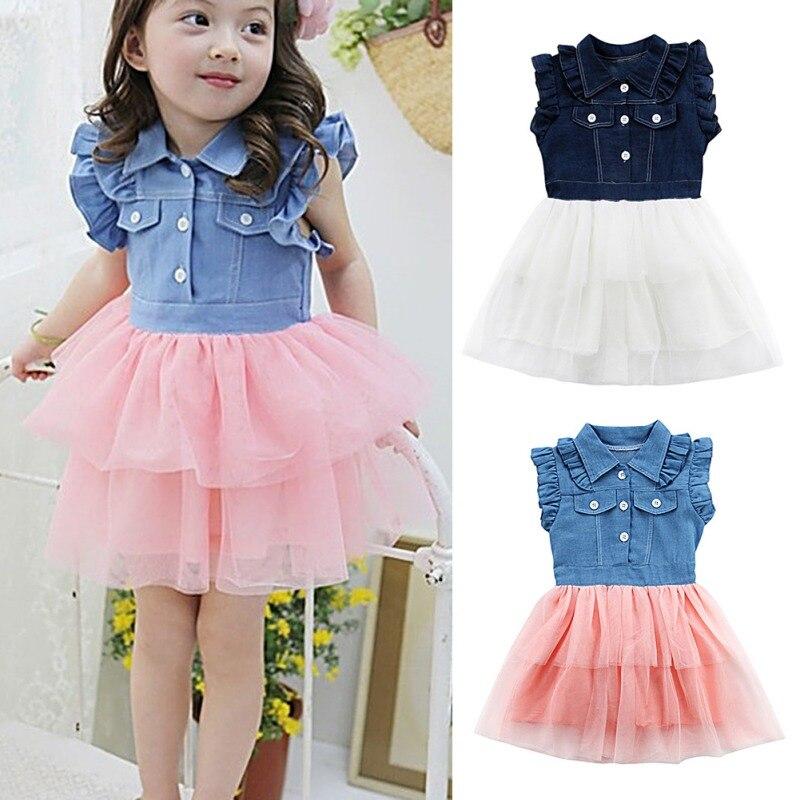 Baby Girls Fashion Lady Princess Style Children Girls Denim Cotton+Mesh Material Princess Dress Children's Clothing new
