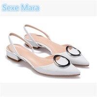 Kích thước 34-41 New nhãn hiệu Chóp Toe Nông Miệng Mắt Cá Chân Strap Sandal Womens Heel Low OL Mùa Hè Gót giày người phụ nữ zapatos