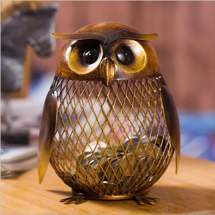 Piggy Bank Owl Shaped Figurine Piggy Bank Money Box Metal Coin Box Saving Box Home Decoration Crafts Gift For Kids