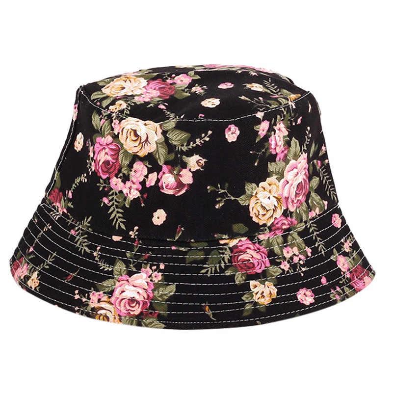 12394fcb83f ... Men Women Bucket Hat Flower Print Cap 2018 Summer Colorful Flat Hat  Fishing Boonie Bush Cap ...