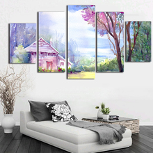 Cabin In The Woods Canvas Paintings 5 Piece Canvas Art Decorative Pictures  Watercolour Design Poster And
