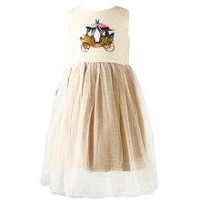 Bongawan платье с цветочным принтом для девочек мультфильм печати Принцесса платья для свадьбы и праздника платье Летняя Одежда для девочек 2 до 8 лет