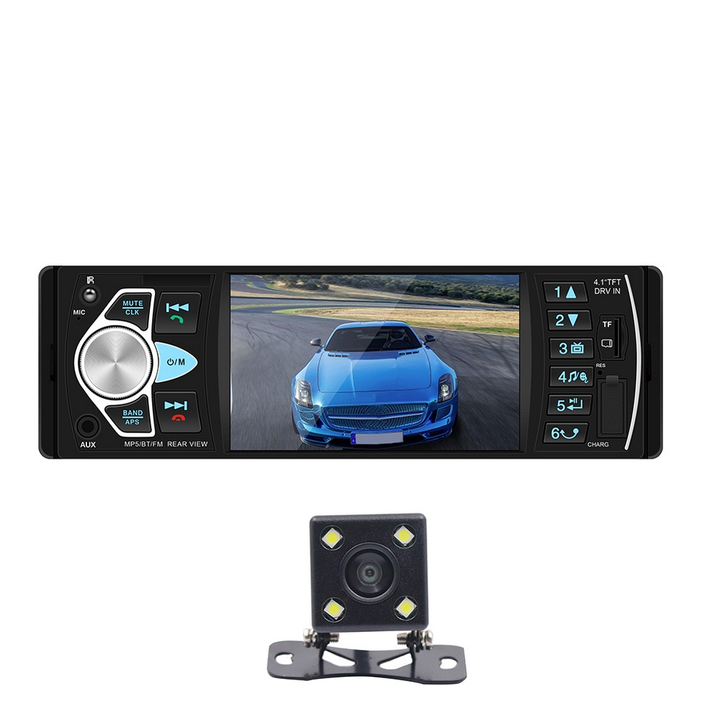 4.1 Inch 1 DIN HD Car MP5 MP4 Multimedia Player Vehicle-mounted Bluetooth Stereo FM Radio With Rear View Camera Remote Control image