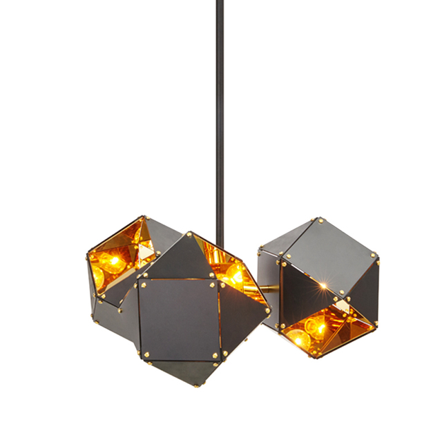 Black Gold Lampshade Cube Rustic Chandeliers Modern Chandelier Design Kitchen Fixtures Interior Commercial Lighting Suspension