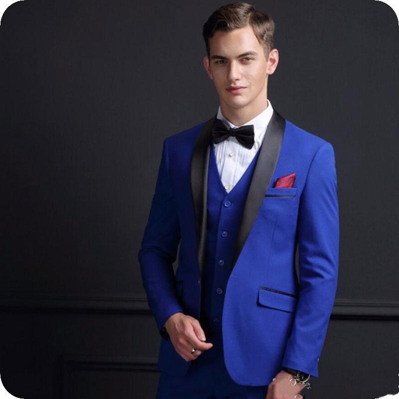 Ankunft Männer Smoking Hochzeit 2019 Anzüge Fit Anzug Junge Bräutigam Slim Freund 3 Stück Blau Royal Neue Maß Für Männlichen KFcT1lJ