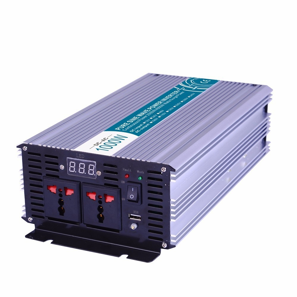 1000W Pure Sine Wave Inverter,DC 12V/24V/48V To AC 110V/220V,off Grid Power Inverter,solar Inverter,voltage Converter For Home dc house usa uk stock 300w off grid solar system kits new 100w solar module 12v home 20a controller 1000w inverter