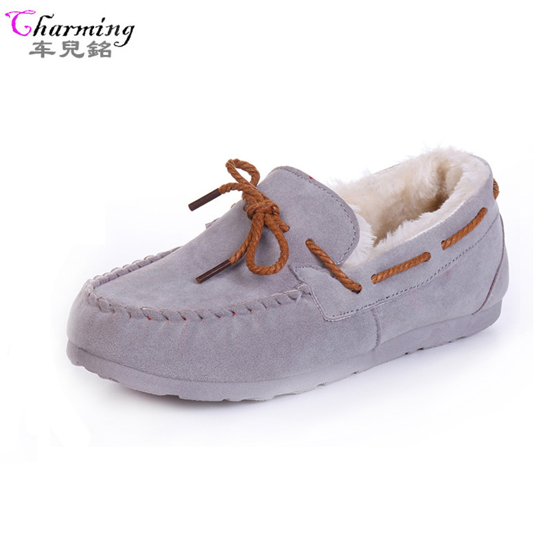 2016 winter women flats warm fur winter boots slip on loafers flat  comfortable winter women casual shoes plus size ALF250 new 2016 european brand designer winter warm flats black leather rabbit fur loafers metal decorated hot sell flat shoes women